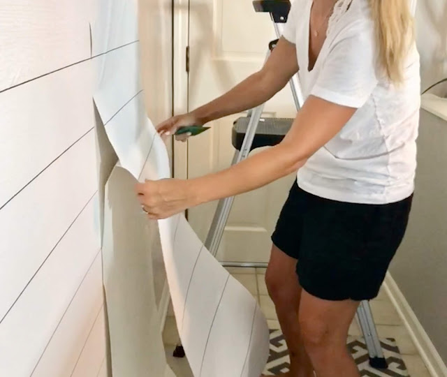 DIY Faux Shiplap!  Get the shiplap look without the cost or commitment with this removable peel & stick wallpaper!    Midwestern Mama