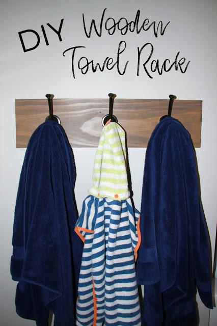 DIY Wooden Towel Rack / Backpack Hook  --  Midwestern Mama