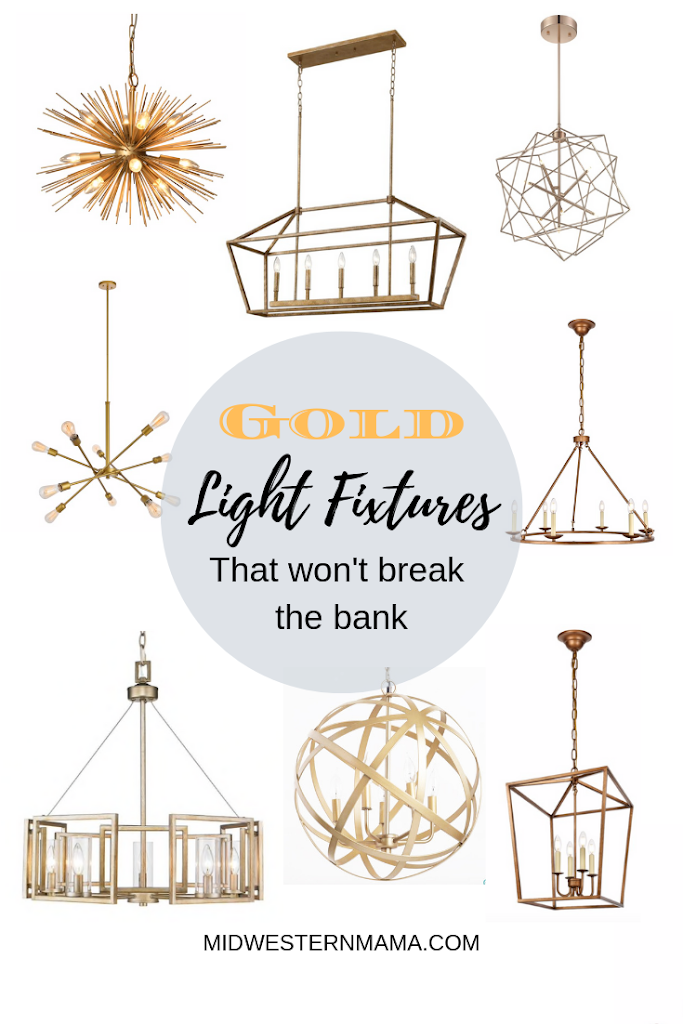 The BEST roundup of affordable gold light fixtures!  These chandeliers and pendants are all under $300 (except for 1)!  If you are into this gold trend, save this post because you will definitely want to refer back to it later!  Midwesernmama.com  #goldlighting #goldchandelier #goldpendant #brasslight #kitchenlights #goldlight